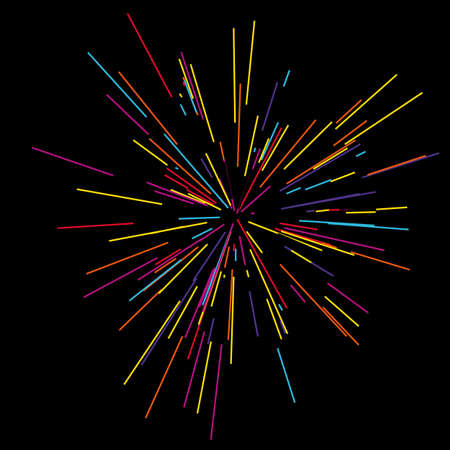 Gold fireworks radiating from the center of thin beams. Illustration