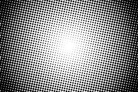 Abstract monochrome halftone pattern. Comic background. Dotted backdrop with circles, dots, point. Design element for web banners, posters, cards, wallpapers, sites. Black and white color Ilustração