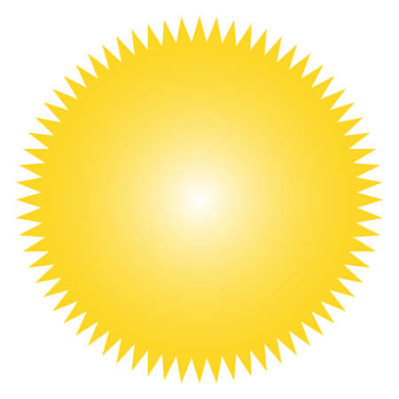 Icon of starburst, sunburst badge,label, sticker. Yellow color.  Simple flat style Vintage  design elements. Vector illustration