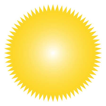 Ikone der Sternexplosion, Sonnendurchbruchabzeichen, Aufkleber, Aufkleber. Gelbe Farbe. Einfache flache Vintage-Design-Elemente. Vektor-illustration