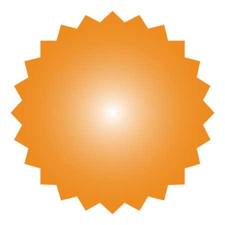Icon of starburst, sunburst badge,label, sticker, Orange color in Simple flat style Vintage design elements.
