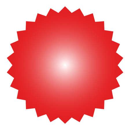 Icon of starburst, sunburst badge,label, sticker. Red color.  Simple flat style Vintage  design elements. Vector illustration