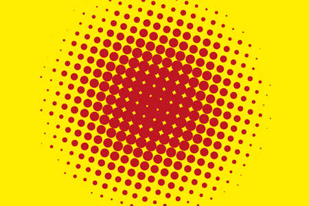 Comic pattern. Halftone background. Red, yellow color. Dotted retro backdrop, panels with dots, points, circles, rounds. Design element for web banners, posters, cards, wallpaper, sites.