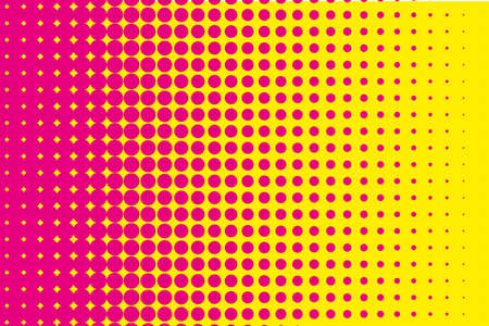 Comic pattern. Halftone background. Pink, yellow color. Dotted retro backdrop, panels with dots, points, circles, rounds. Design element for web banners, posters, cards, wallpaper, sites.