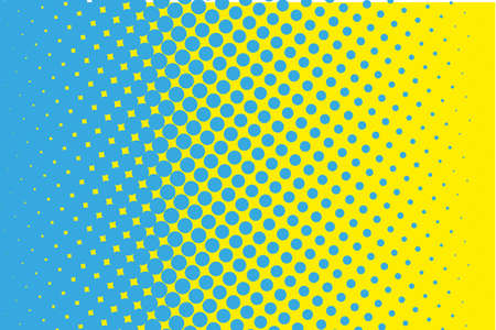 Comic pattern. Halftone background. Blue, yellow color. Dotted retro backdrop, panels with dots, points, circles, rounds. Design element for web banners, posters, cards, wallpaper, sites.