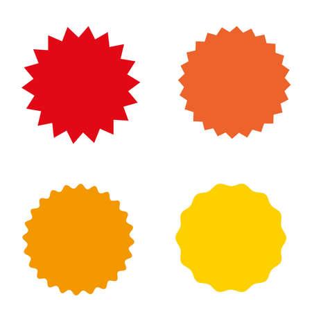 Set Starburst, Sunburst Abzeichen, Etiketten, Aufkleber. Einfacher flacher Stil. Weinlese, Retro. Design-Elemente. Eine Sammlung verschiedener Symbolen. Vektor-illustration