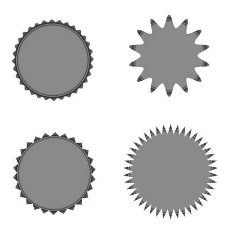 Set of vector starburst, sunburst badges. Grey color. Simple flat style vintage labels and stickers. Design elements. A collection of different types icon.