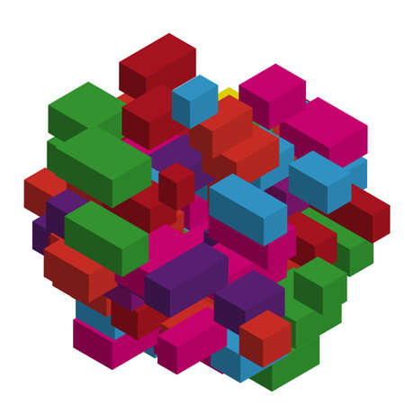 Abstract geometric background with colorful isometric rectangles and bricks. Three-dimensional, 3D vector illustration.