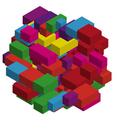 Abstract geometric background with colorful isometric rectangles and bricks. Three-dimensional, 3D vector illustration. Purple, violet color. Vettoriali