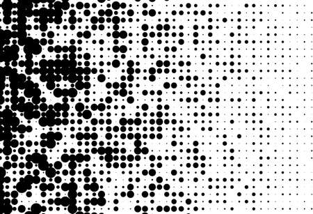 Abstract futuristic halftone pattern. Comic background. Dotted backdrop with circles, dots, point different scale Design element for web banners, posters, cards, wallpapers, sites. Black and white Illustration