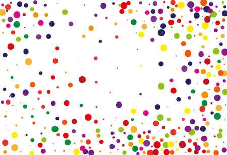 カラーラウンドグリッター、紙吹雪のフェスティバルパターン。ランダムな、カオス水玉模様。パーティーの招待状、結婚式、カード、電話の壁紙のための明るい背景。ベクターの図。タイポグラフィデザイン。