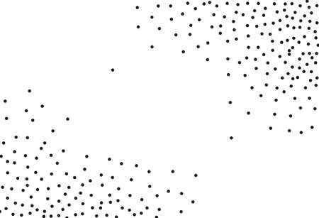 Random halftone. Pointillism style. Background with irregular, chaotic dots, points, circle. Abstract monochrome pattern. Black and white color. Vector illustration