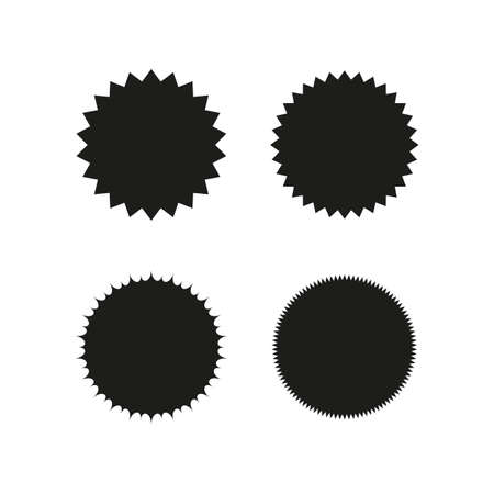 Set of vector starburst, sunburst badges. Black on white color. Simple flat style Vintage  labels, stickers. Design elements. A collection of different types icon. Ilustrace
