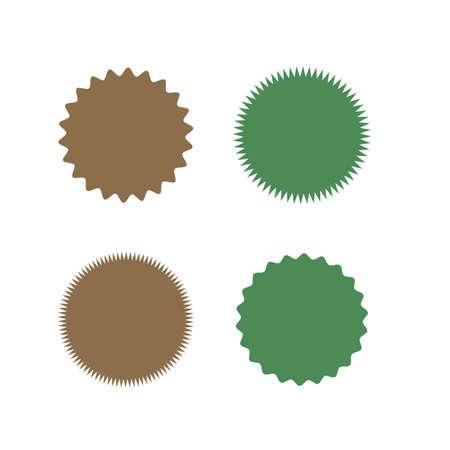Set of icons badges starburst, sunburst, label, sticker. Different types and colors Design elements. Vector illustration.