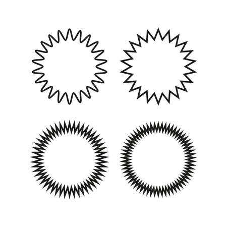 Vintage labels, stickers. Set of line, outline starburst, sunburst badges. Black on white color. Simple flat style Design elements. A collection of different types icon. Иллюстрация