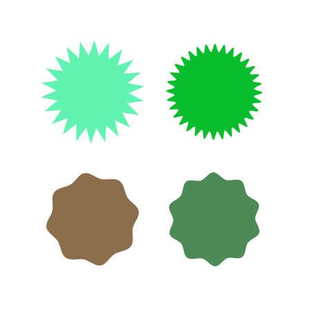 Set of icons badges starburst, sunburst, label, sticker. Different types and colors Design elements. Vector illustration