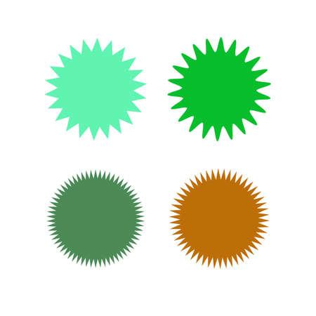 Set of icons badges starburst, sunburst, label, sticker. Different types and colors design elements vector illustration.