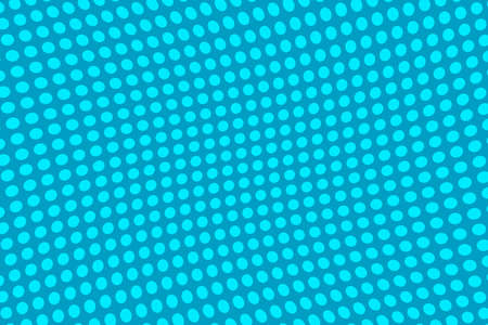 Bright blue halftone background. Digital gradient. Wavy dotted pattern with circles, dots, point.  Vector illustration
