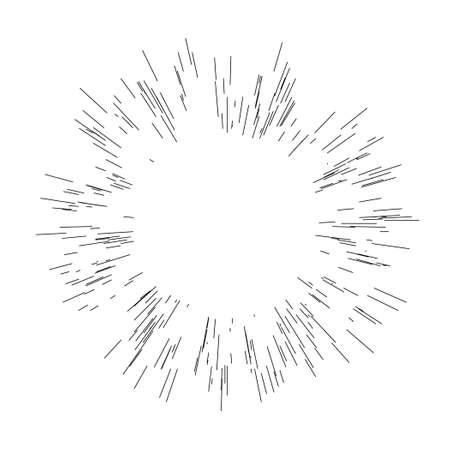 Sun burst, star burst sunshine. Radiating from the center of thin beams, lines Vector illustration.