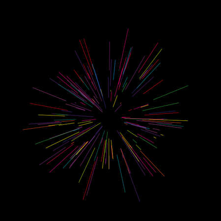 Colorful fireworks Radiating from the center of thin beams, lines. Vector illustration. Illustration