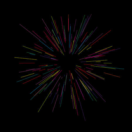 Colorful fireworks radiating from the center of thin beams, lines. Vector illustration. Dynamic style. Abstract explosion, speed motion lines from the middle, radiating sharp.