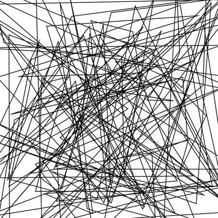Asymmetrical texture with random chaotic lines, abstract geometric pattern. Abstract web, a tangled mesh. Black and white vector illustration for creating modern art backgrounds. Grunge urban style.