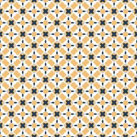 Retro geometric pattern in repeat. Fabric print. Seamless background, mosaic ornament, vintage style. Design for prints on fabrics, textile, covers, paper, wallpaper, interior, patchwork, wrapping. Stock Photo