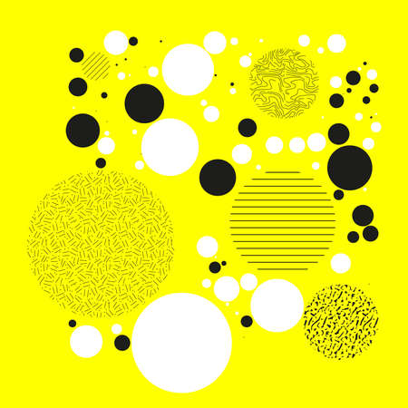 Background with circles, dots and points of different scale. Abstract geometric pattern. Black and white on yellow vector illustration for creating modern art backgrounds, patterns Grunge urban style.
