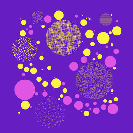 Background with circles, dots and points of different scale Abstract geometric pattern. Violet, yellow, pink color. Vector illustration for creating modern art backgrounds, patterns Grunge urban style