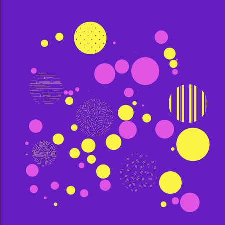 Yellow and purple dots on blue background. Illustration