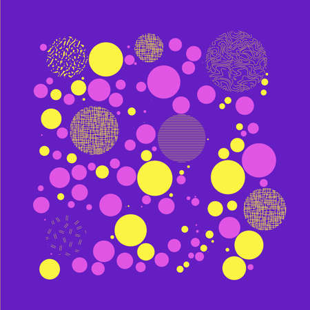 A Background with circles, dots and points of different scale Abstract geometric pattern. Violet, yellow, pink color. Vector illustration for creating modern art backgrounds, patterns Grunge urban style Illustration