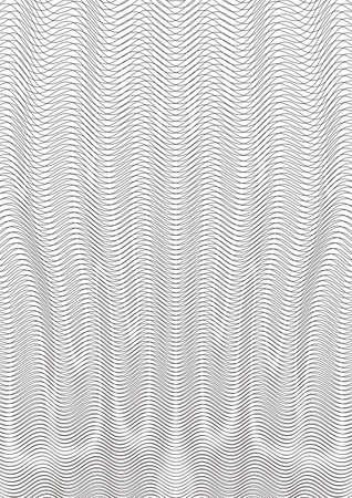 Guilloche achtergrond. Een eenvoudig patroon met golvende lijnen. Moire sieraad. Zwart-wit guilloche textuur met golven. Origineel geldpatroon. Digitale watermar, gradiënt. Beveiliging ontwerp Vector illustratie