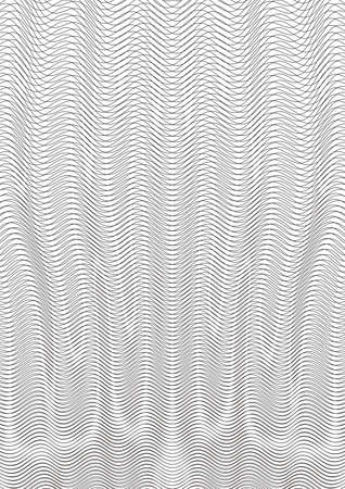 Guilloche background. A simple pattern with wavy lines. Moire ornament. Monochrome guilloche texture with waves. Original money pattern. Digital watermar, gradient. Security design Vector illustration
