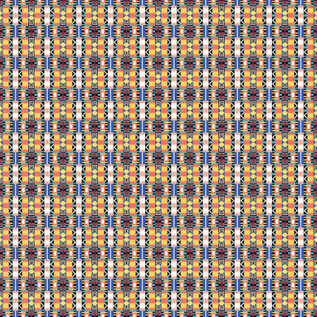 Ethnic pattern in the style of African tribes, Australian aborigines, American Indians. Seamless background for print on fabric, surface, paper, wrapping Archivio Fotografico