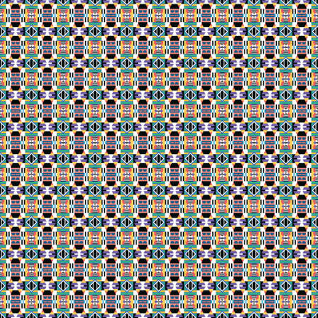 Ethnic pattern in the style of African tribes, Australian aborigines, American Indians. Seamless background for print on fabric, surface, paper, wrapping Stok Fotoğraf