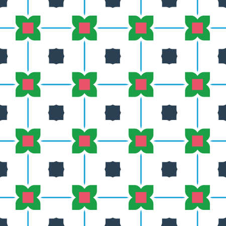 Design for printing on fabric, textile, paper, wrapper, scrapbooking. Traditional tile ornament retro, vintage style. Seamless pattern. Authentic geometric background in repeat. Colorful