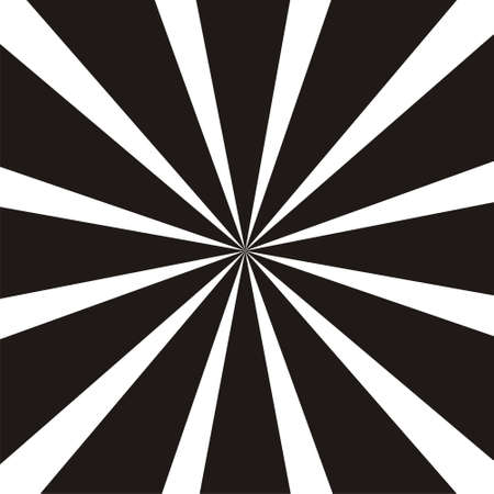 Abstract circular geometric shape. Black and white sun rays, beams element. Sunburst, starburst pattern. Radiating from the center  radial, merging lines Vector illustration