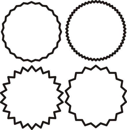 Vintage labels, stickers. Set of line, outline starburst, sunburst badges. Black on white color. Simple flat style Design elements. A collection of different types icon. 矢量图像