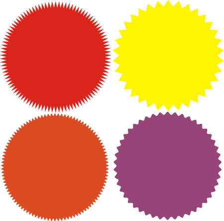 Set of vector starburst, sunburst badges. 4 different color. Simple flat style Vintage labels. Design elements. Colored stickers. A collection of different types and colors icon.