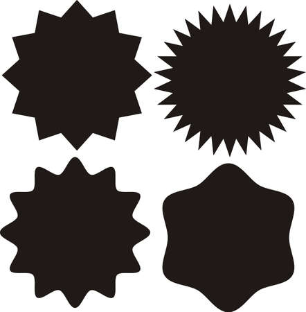Set of vector starburst, sunburst badges. Black on white color. Simple flat style Vintage labels, stickers. Design elements. A collection of different types icon.