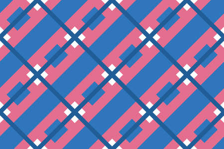 Geometric seamless pattern with intersecting lines, grids, cells. Criss-cross background in traditional tile style. For printing on fabric, paper, wrapping, scrapbooking, banners Vector illustration  イラスト・ベクター素材