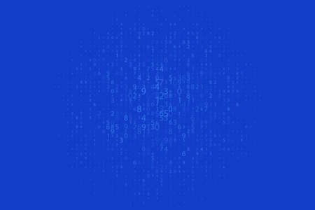 Random numbers 0 and 1. Background in a matrix style. Binary code pattern with digits on screen, falling character. Abstract digital backdrop. Vector illustration