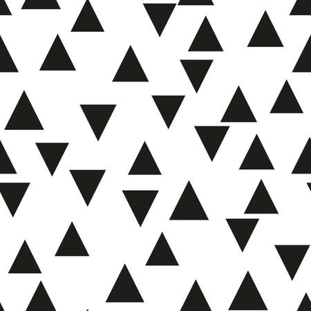 Seamless background with triangles.  Modern minimalistic style. One color black on white. Geometric pattern. Minimal design for printing on fabric, paper, wrapper, textile. Vector illustration Ilustração