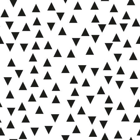 Seamless background with triangles.  Modern minimalistic style. One color black on white. Geometric pattern. Minimal design for printing on fabric, paper, wrapper, textile. Vector illustration Ilustrace