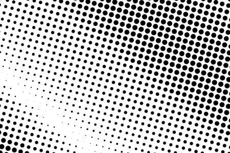 Black and white halftone pattern. Background with points, dots, circles. Futuristic panel. Abstract monochrome backdrop. Vector illustration