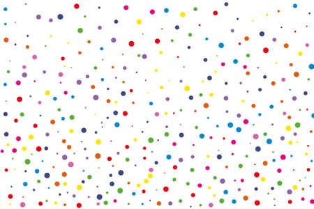 Festival seamless pattern with round confetti.Colorful circles, dots on white background, vector illustration Rectangular horizontal