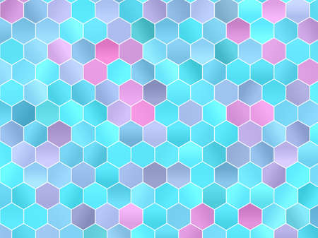 Abstract geometric background with hexagons. Gradients hexagons of pink, green and blue colors. Vector illustration Vettoriali