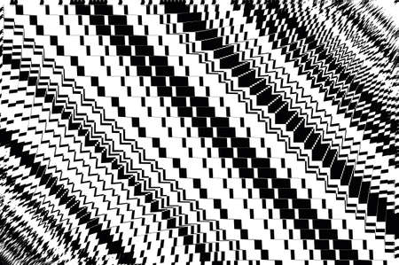 Geometric background with different combinations of zigzag lines, stripes, squares and rectangles. Black and white vector illustration. Illustration