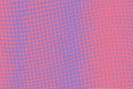 Background with wave dotted lines. Halftone pattern. Design in pop-art style, comic book. Retro, vintage backdrop. Vector illustration.  Pink-violet color Stock Illustratie