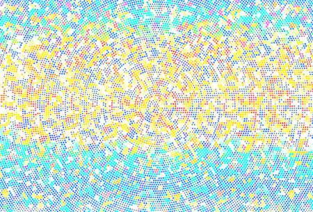 Background with bright dots, circles. Abstract sequins, rhinestones, glitter background. Perforated surface. Shining texture. Vector illustration. Different shades of blue, yellow color